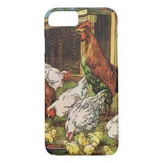 Capa iPhone 8/ 7 Animais de fazenda do vintage, galo, galinhas,