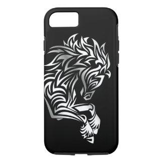 Capa iPhone 8/ 7 Animal de prata do preto do cavalo