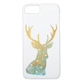 Capa iPhone 8/ 7 Antler da rena. Flocos de neve. Inverno. Arte