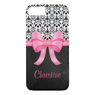Capa iPhone 8/ 7 Arco cor-de-rosa bonito no damasco & no couro