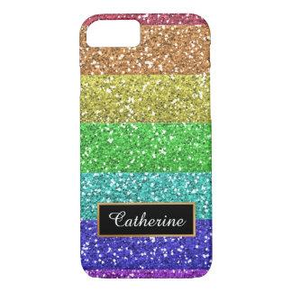 Capa iPhone 8/ 7 Arco-íris do brilho personalizado com nome