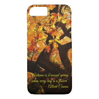 Capa iPhone 8/ 7 Arte bonita da árvore do outono com texto