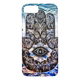Capa iPhone 8/ 7 Arte colorida do Fractal do olho de Hamsa