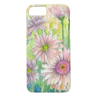 Capa iPhone 8/ 7 Arte cor-de-rosa da flor da aguarela do buquê da
