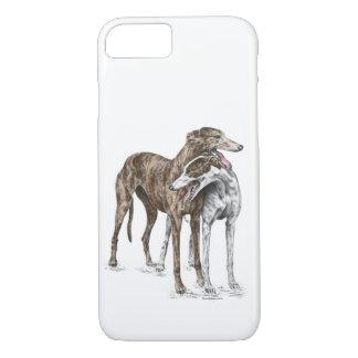 Capa iPhone 8/ 7 Arte do cão de dois amigos do galgo