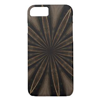 Capa iPhone 8/ 7 Arte Kaleidoscopic rústica escura da flor de Brown