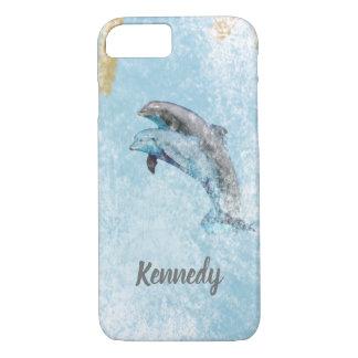 Capa iPhone 8/ 7 Arte litoral de salto do tema dos golfinhos