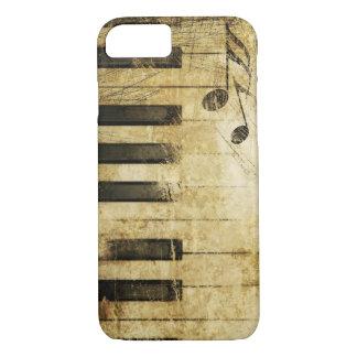 Capa iPhone 8/ 7 arte marrom do teclado de piano da música do