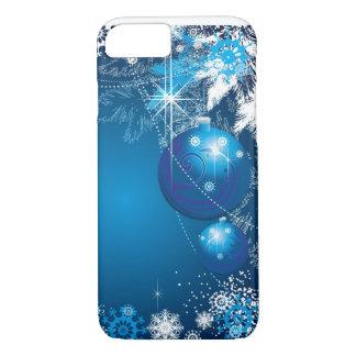 Capa iPhone 8/ 7 Árvore do azul do ornamento dos flocos de neve do