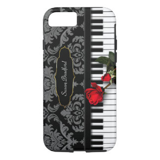 Capa iPhone 8/ 7 As CHAVES w/RED do PIANO AUMENTARAM - damasco -