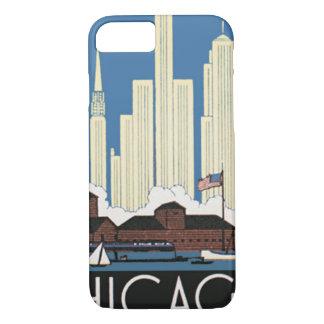 Capa iPhone 8/ 7 As viagens vintage Chicago têm tudo skyline da