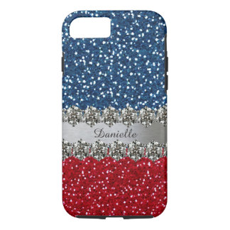 Capa iPhone 8/ 7 Azul branco vermelho de Bling do falso patriótico