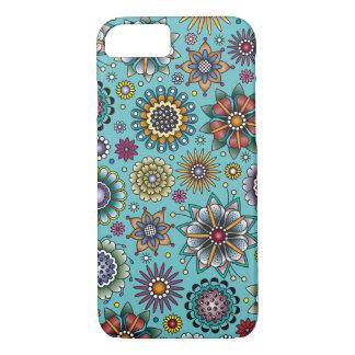 Capa iPhone 8/ 7 Azul do teste padrão do Doodle da flor do estilo