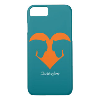 Capa iPhone 8/ 7 Azul e pônei personalizado laranja