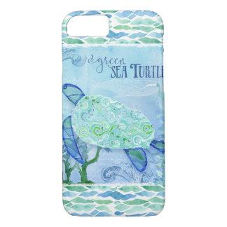 Capa iPhone 8/ 7 Azul moderno da arte da praia do oceano da