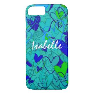 Capa iPhone 8/ 7 Azul vibrante artístico ornamentado dos corações