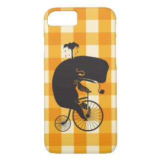 Capa iPhone 8/ 7 Baleia que monta uma bicicleta do Farthing da