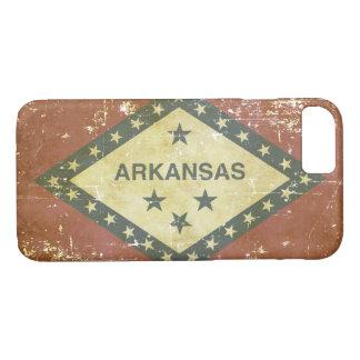 Capa iPhone 8/ 7 Bandeira patriótica gasta do estado de Arkansas