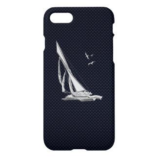 Capa iPhone 8/7 Barco de vela do cromo na fibra do carbono