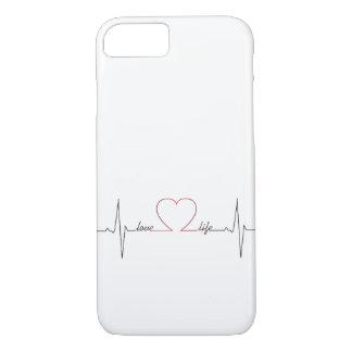 Capa iPhone 8/ 7 Batimento cardíaco com citações inspiradas da vida