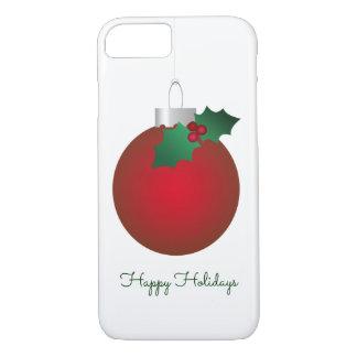 Capa iPhone 8/ 7 Bauble vermelho do ornamento do vintage do elogio