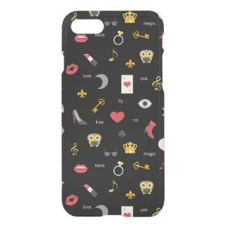 Capa iPhone 8/7 beijos à moda elegantes, lábios, corações,