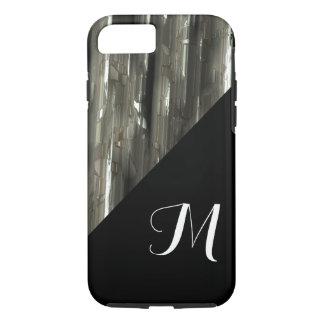 Capa iPhone 8/ 7 Blocos brilhantes do metal com monograma preto