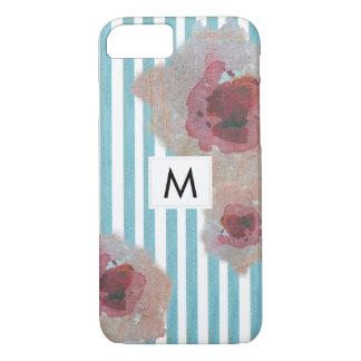 Capa iPhone 8/ 7 Boho listrado à moda Monogramed chique floral