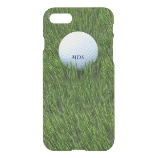 Capa iPhone 8/7 Bola de golfe no monograma áspero da grama verde
