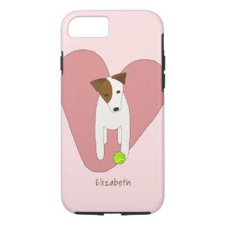 Capa iPhone 8/ 7 bola de tênis cor-de-rosa do cão de Jack Russell