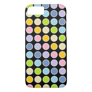 Capa iPhone 8/ 7 Bolinhas Pastel esboçadas branco do arco-íris