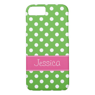Capa iPhone 8/ 7 Bolinhas verdes e cor-de-rosa formais