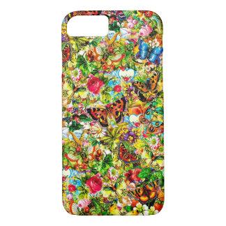 Capa iPhone 8/ 7 Borboleta colorida do jardim do vintage floral