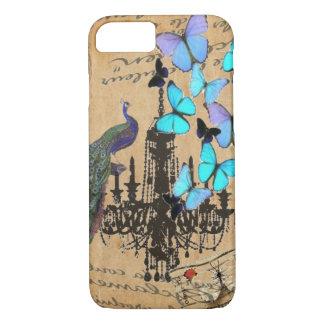 Capa iPhone 8/ 7 borboleta moderna do azul de pavão do vintage do