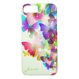 Capa iPhone 8/ 7 borboletas coloridas do primavera abstrato com