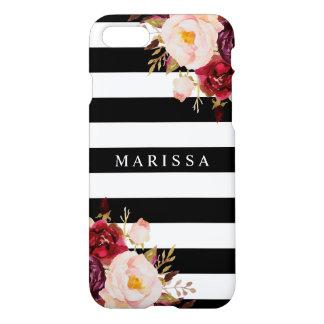 Capa iPhone 8/7 Borgonha branca preta floral cor-de-rosa Marsala