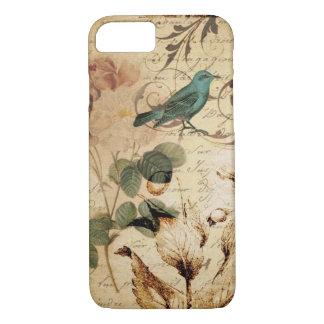 Capa iPhone 8/ 7 botânico francês de Paris do pássaro do victorian