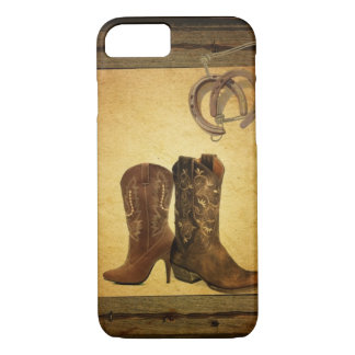 Capa iPhone 8/ 7 Botas de vaqueiro de madeira do país ocidental do