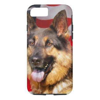 Capa iPhone 8/ 7 Branco azul vermelho do patriota do cão de german