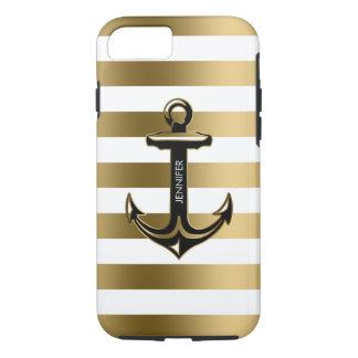 Capa iPhone 8/ 7 Branco de Monogramed & listras do ouro, âncora
