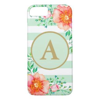 Capa iPhone 8/ 7 Branco floral da hortelã do monograma do ouro do