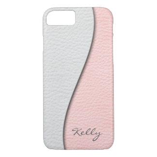 Capa iPhone 8/ 7 Branco sobre o olhar de couro cor-de-rosa