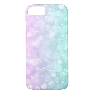 Capa iPhone 8/ 7 Brilho brandamente cor-de-rosa & verde de Bokeh