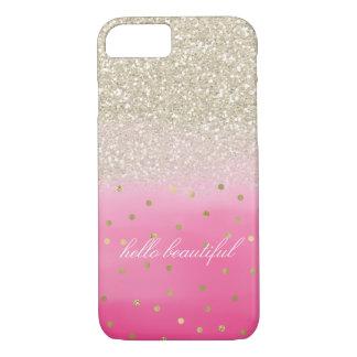 Capa iPhone 8/ 7 Brilho cor-de-rosa do ouro do falso da aguarela