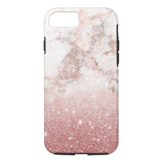 Capa iPhone 8/ 7 Brilho cor-de-rosa Ombre de mármore branco do ouro