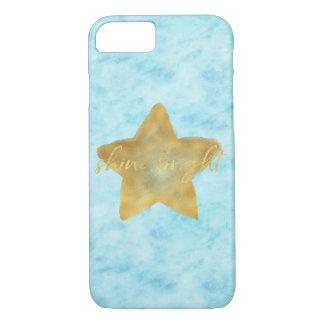 Capa iPhone 8/ 7 Brilho da estrela da aguarela dos azul-céu do ouro
