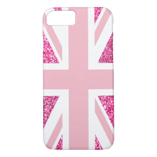 Capa iPhone 8/ 7 Brilho do rosa quente e luz - Union Jack