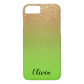 Capa iPhone 8/ 7 Brilho e verde limão do ouro - personalize