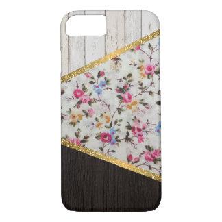 Capa iPhone 8/ 7 Brilho floral do ouro dos rosas femininos