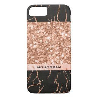 Capa iPhone 8/ 7 Brilho moderno do Rosa-Ouro & teste padrão de